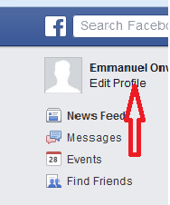 facebook profile edit button