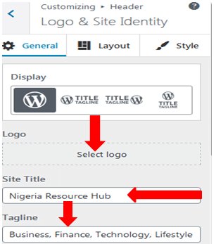 Adding Logo and site Identity to your blog