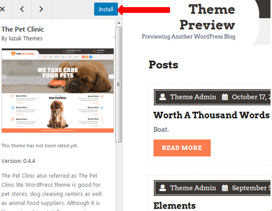 Installing New WordPress theme