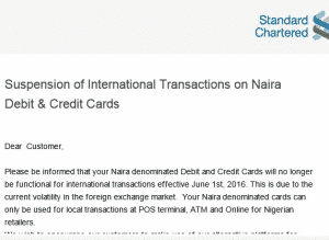 Standard Charted bank suspend international transaction on Naira ATM Card