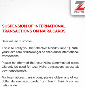 Zenith bank suspends use of Naira ATM on International transactions