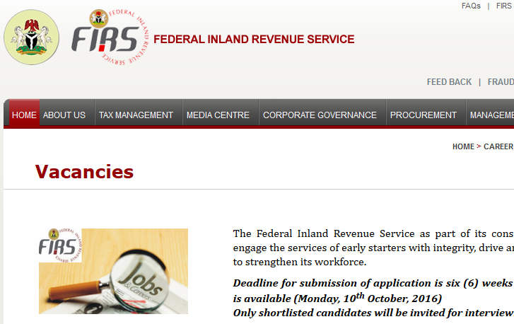 FIRS Recruitment 2016 and how to apply