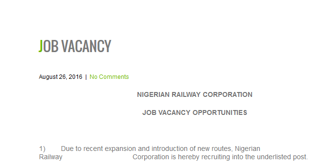 Nigerian railway job vacancies 2016