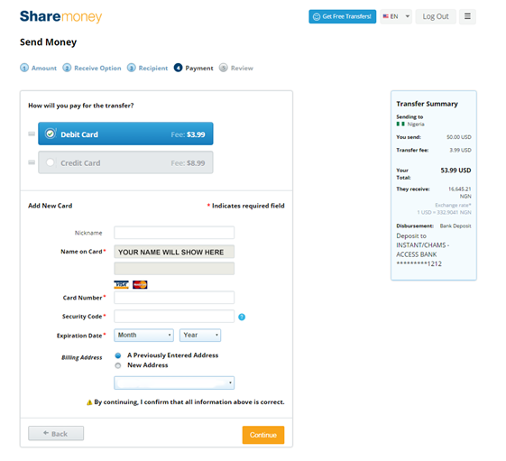 Pick how you will pay money through sharemoney
