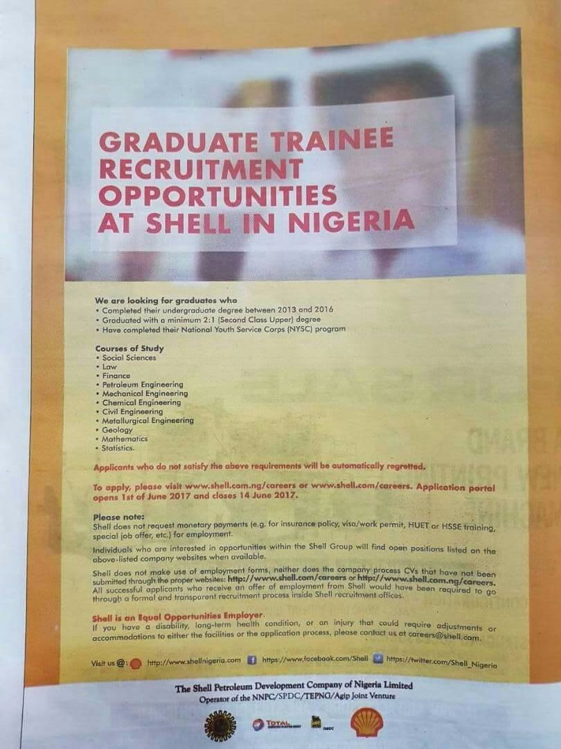 Shell Graduate Recruitment 2017