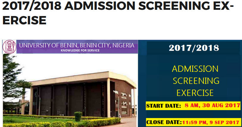 2017/2018 Uniben post utme form and admission screening date