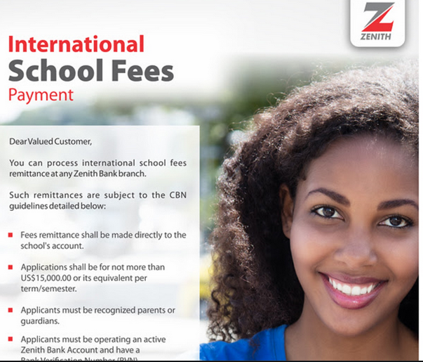 Zenith bank international school fees payment method