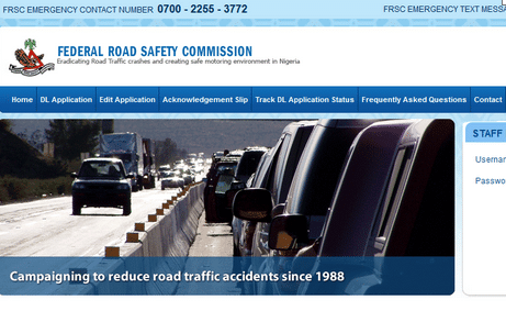 Federal Road Safety Commission Website for Renew of Driving License Online