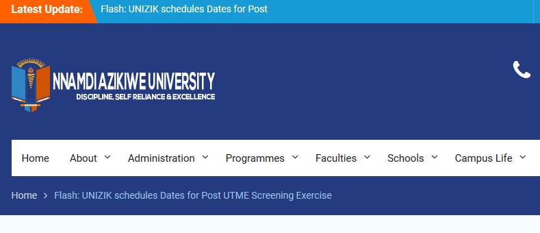 UNIZIK POST UTME 2017/2018 Screening dates