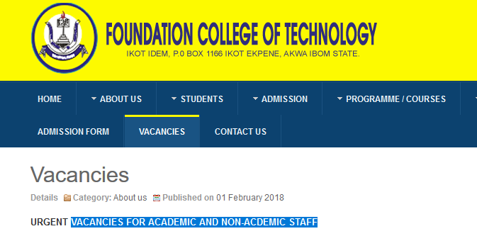Foundation college of Technology Job Vacancies