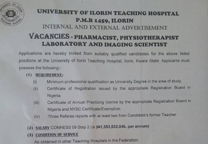 University of Ilorin Teaching Hospital (UITH) Job Vacancies