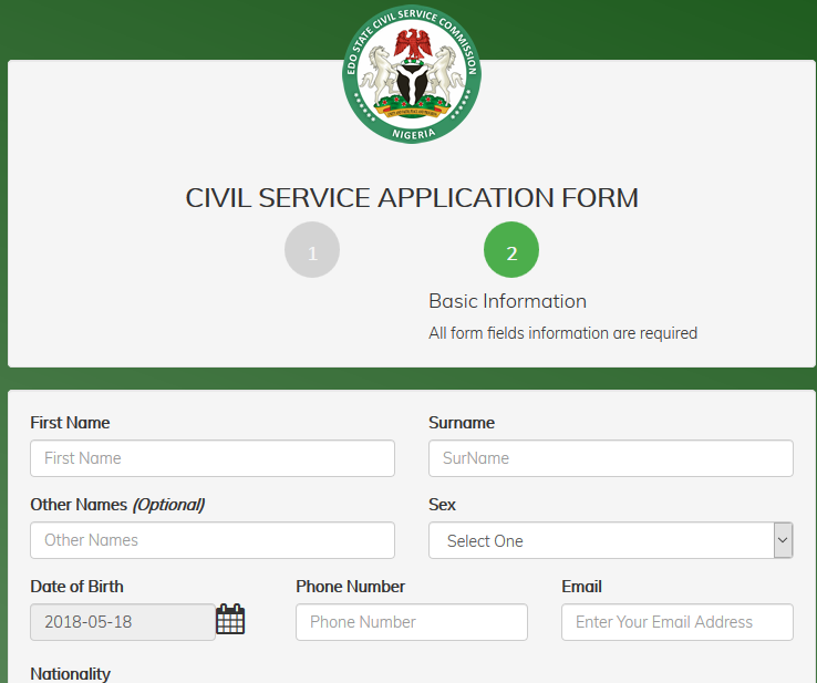 Edo State Civil Service Application form