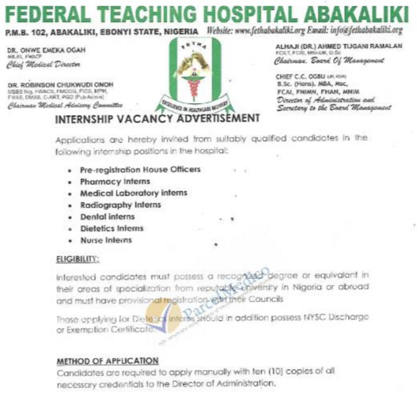 Federal Teaching hospital Abakaliki (FETHA)  Internship recruitment 2018
