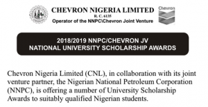 Chevron Nigeria Limited Scholarship