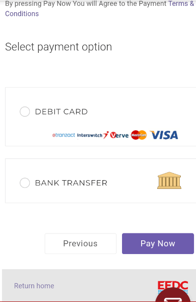 Check the debit option and select your debit card