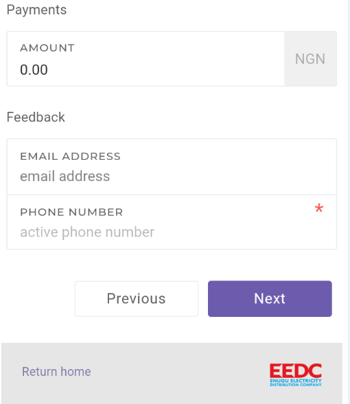 Enter new amount to recharge, email address and phone number