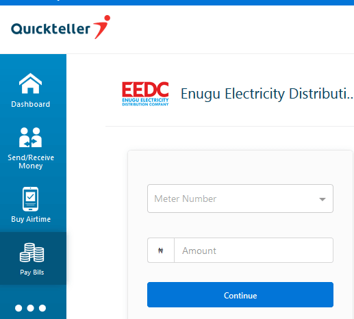 log onto Quickteller website and enter your meter number and amount