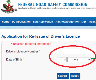 Supply Driver's Licence Number and Date of Birth