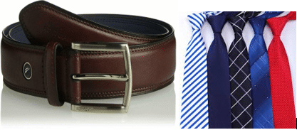 Original Leather Dress Belt and Tie for Birthday Gift