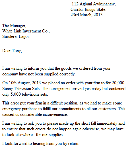LETTER OF COMPLAINT TO A BANK