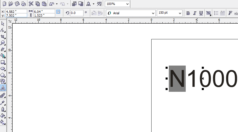 Inserting Naira sign in CorelDraw highlight Letter N