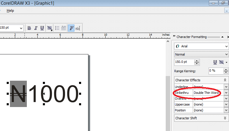 inserting naira sign in CorelDraw selecting strikethrough double thin word